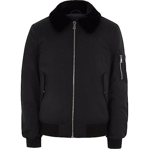 Black faux fur collar aviator jacket