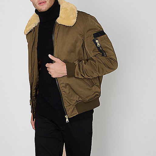 Green faux fur collar padded coach jacket