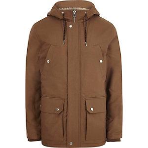 Brown hooded fleece lined jacket