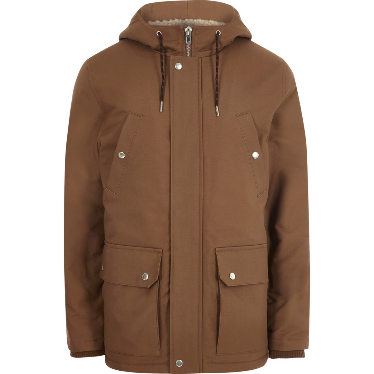 Brown hooded fleece lined jacket