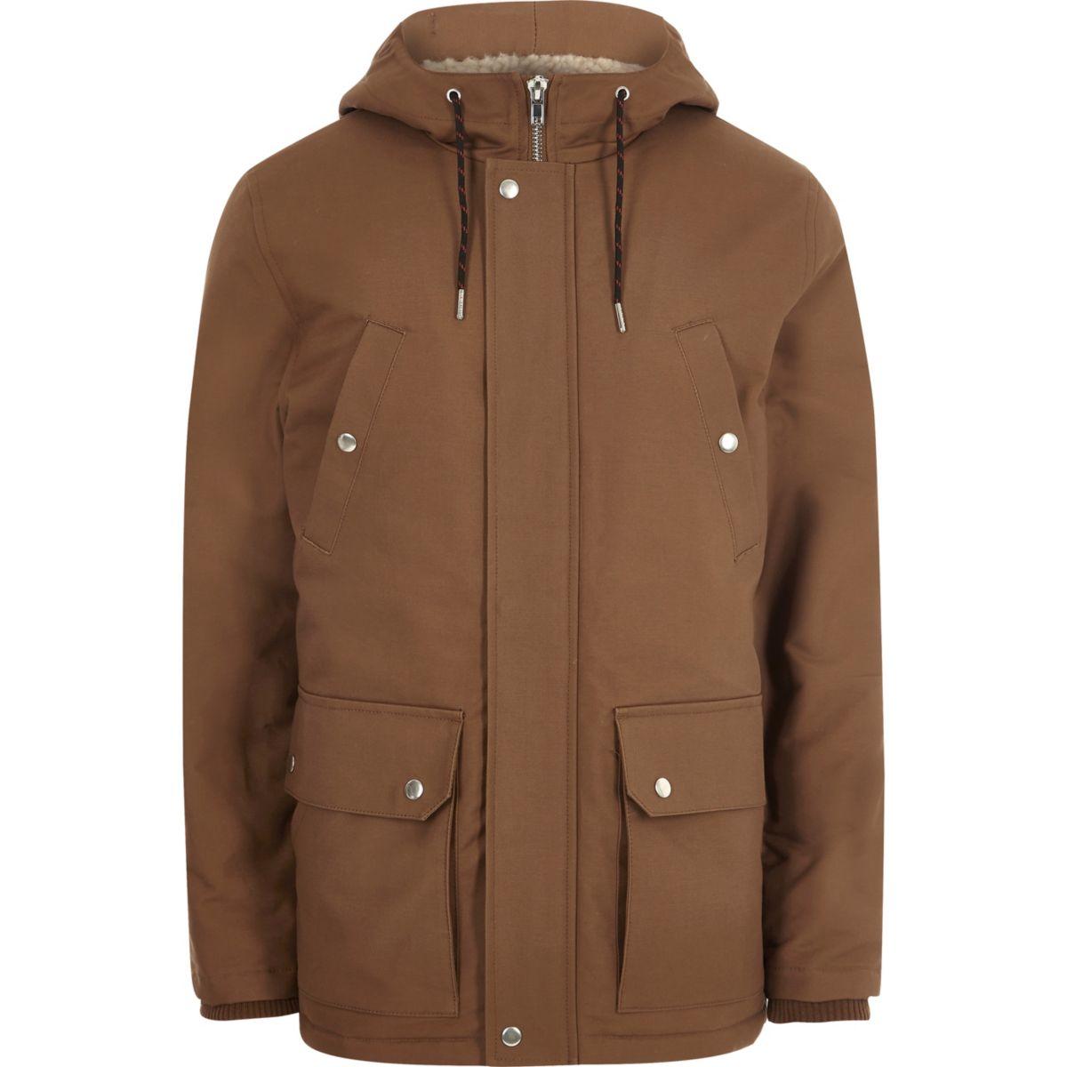 Veste marron à capuche avec doublure imitation mouton