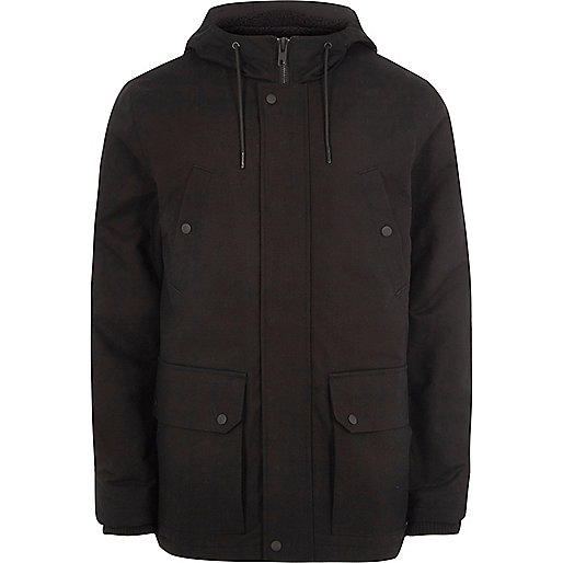 Black hooded fleece lined jacket