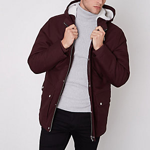 Burgundy hooded borg lined jacket