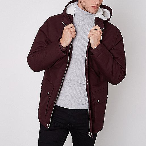Burgundy hooded borg lined jacket
