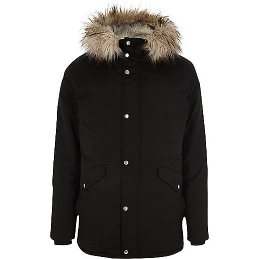 Black fur trim hooded parka