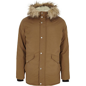 Stone faux fur trim hooded parka