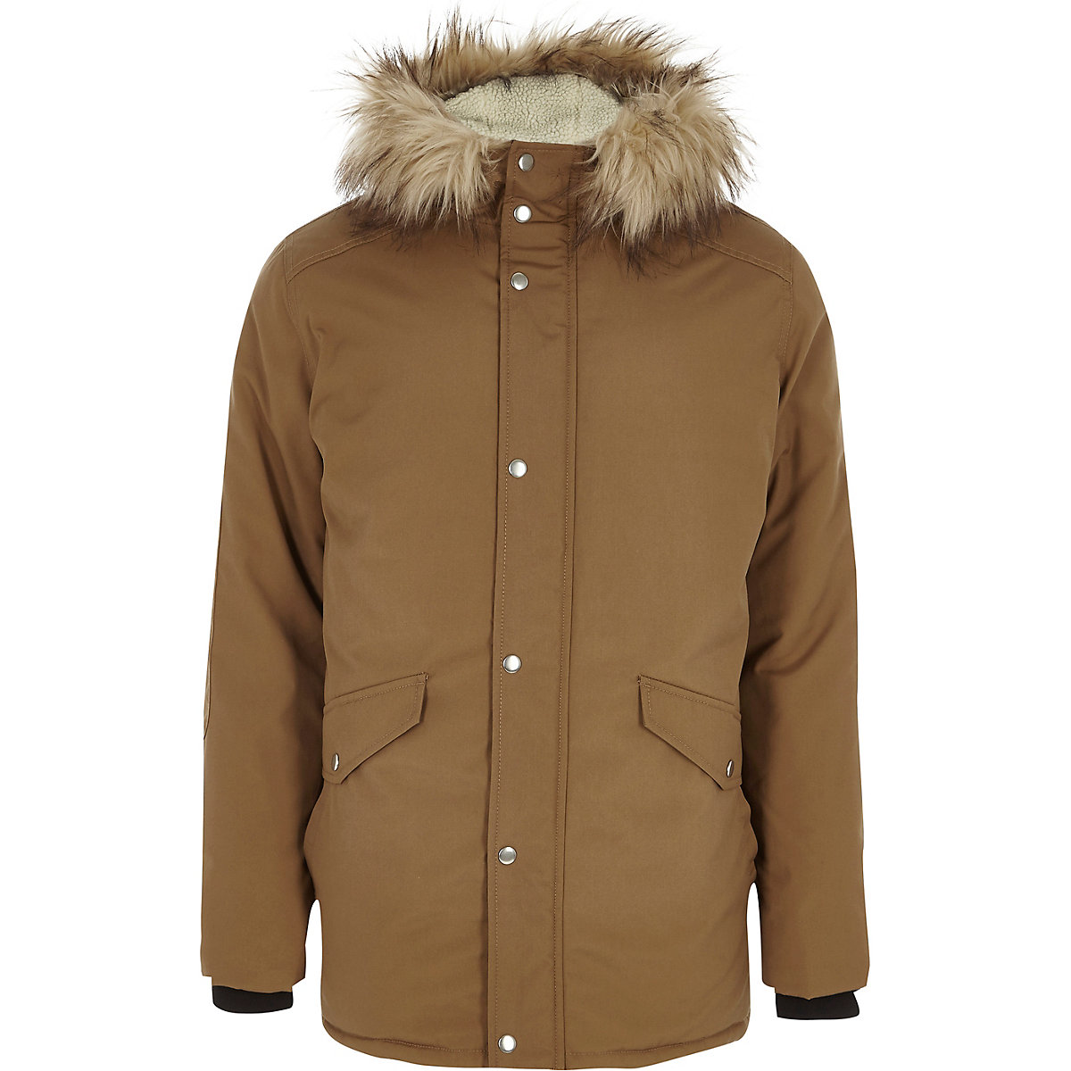 Stone faux fur trim hooded parka