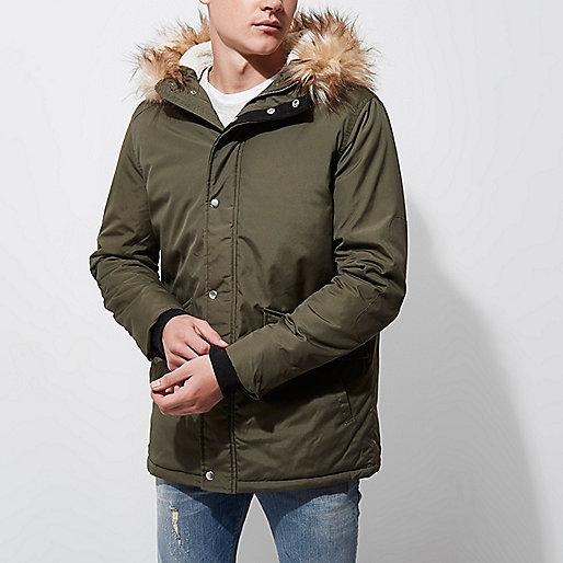 Dark khaki green fur trim hooded parka