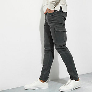 Khaki green cargo skinny fit trousers