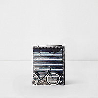 Blue bike photo print card holder wallet