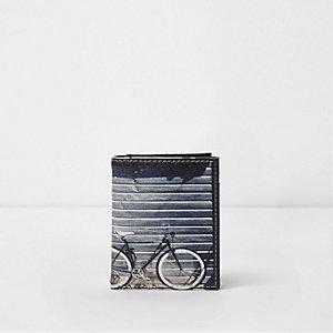 Blauwe portemonnee met creditcardhouder en fotografische fietsprint