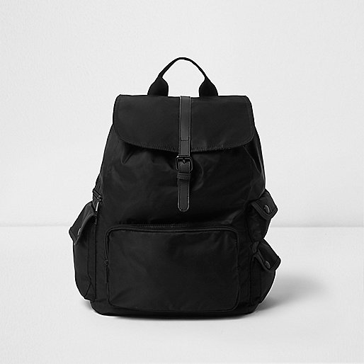 Black flap top backpack