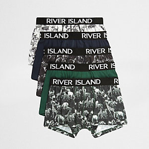 Grüne Hipster-Slips mit Safari-Print, Set