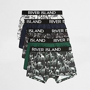 Lots de boxers verts imprimé safari