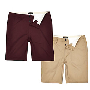 Chino-Shorts in Braun und Weinrot, Set