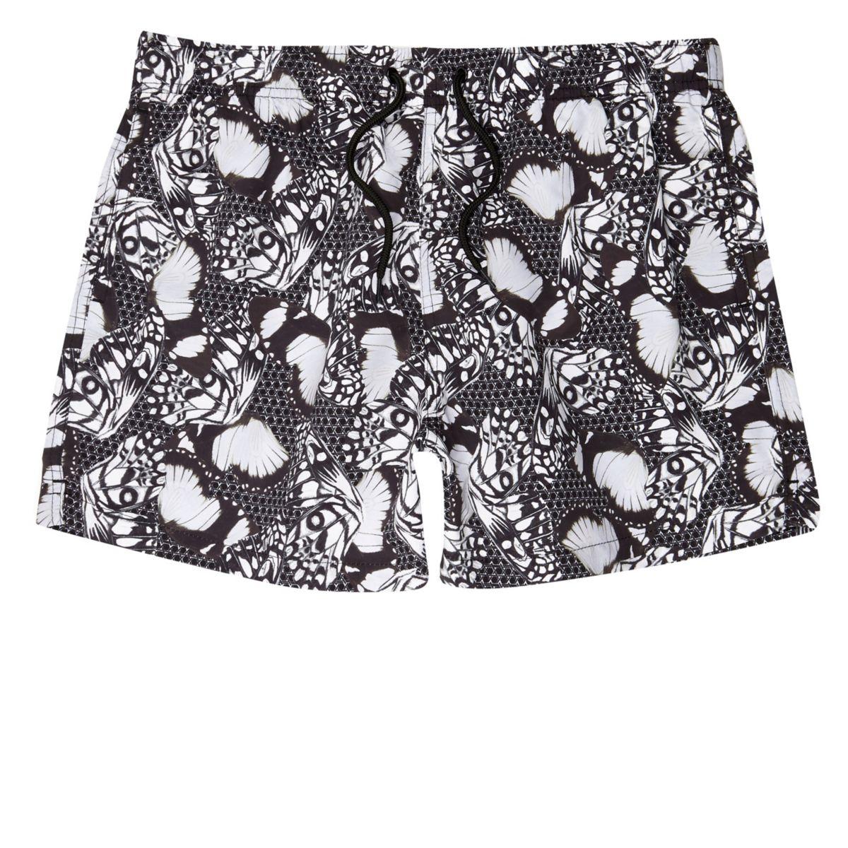 Black mono butterfly print swim shorts