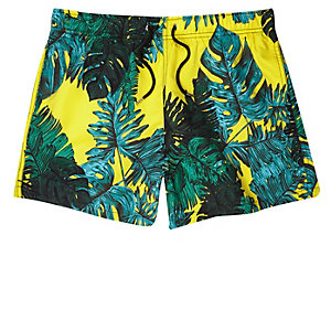 Yellow palm leaf print swim trunks
