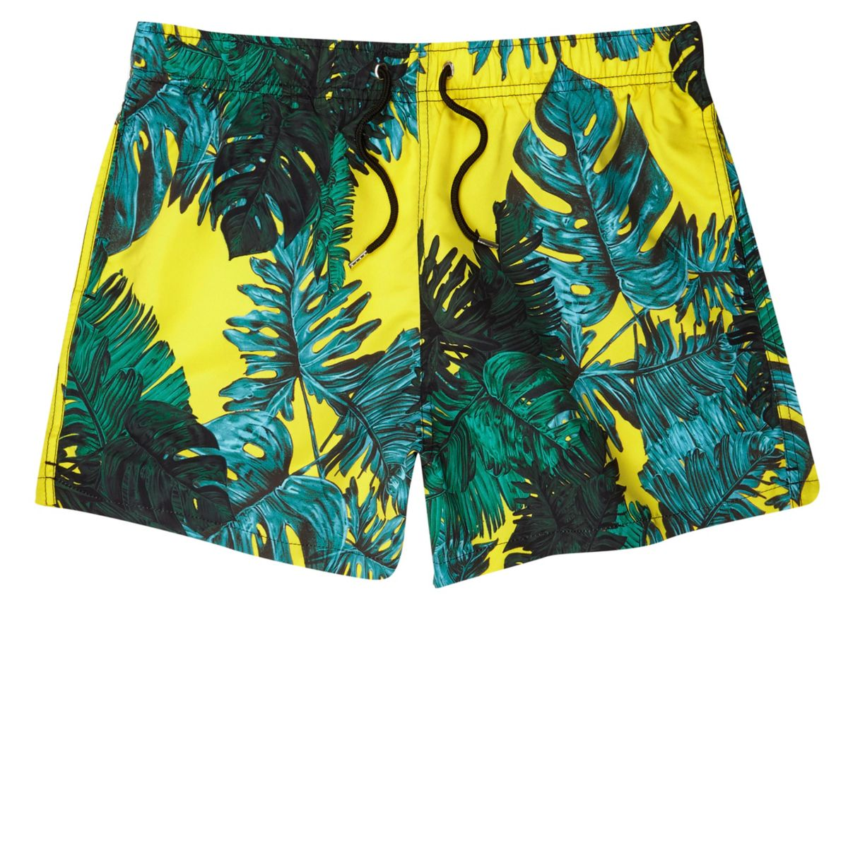 Yellow palm leaf print swim shorts