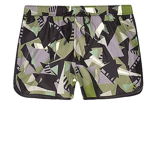 Green camo shard print runner swim shorts