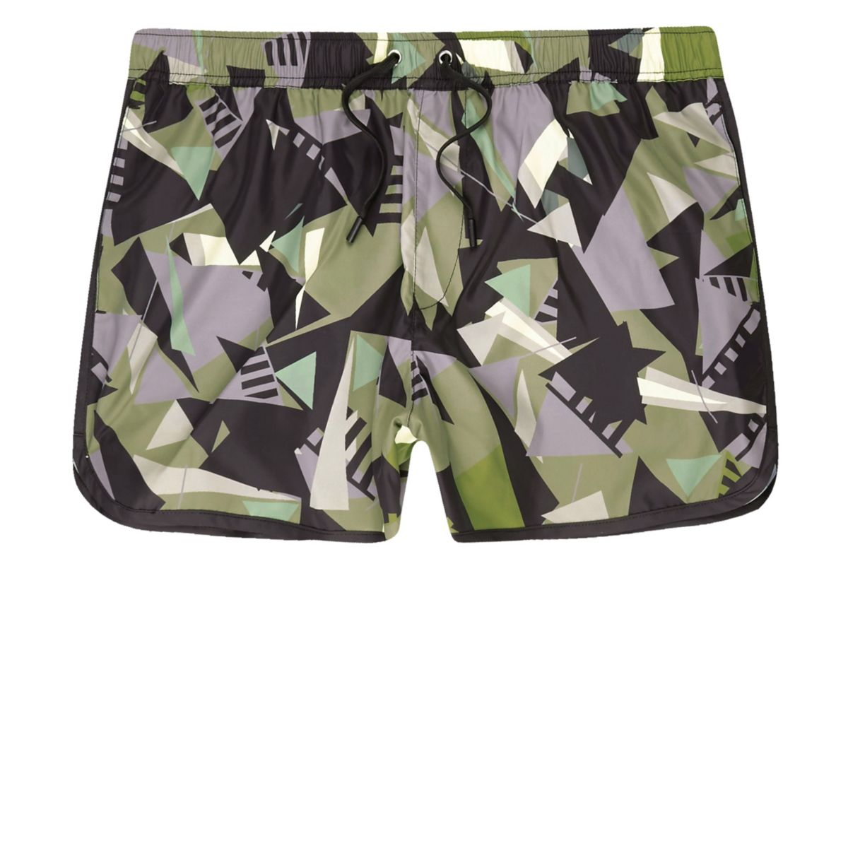 Green camo shard print runner swim trunks