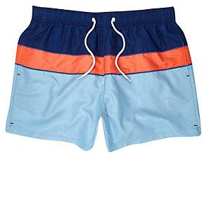 Orange block colour swim shorts