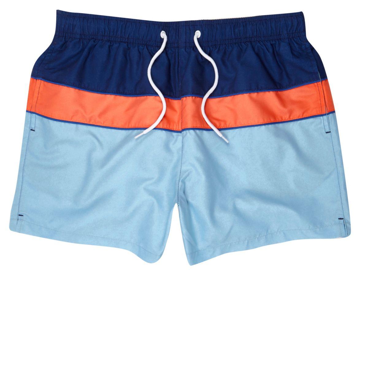 Orange block color swim trunks