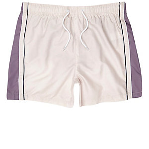 Light pink blocked stripe swim trunks