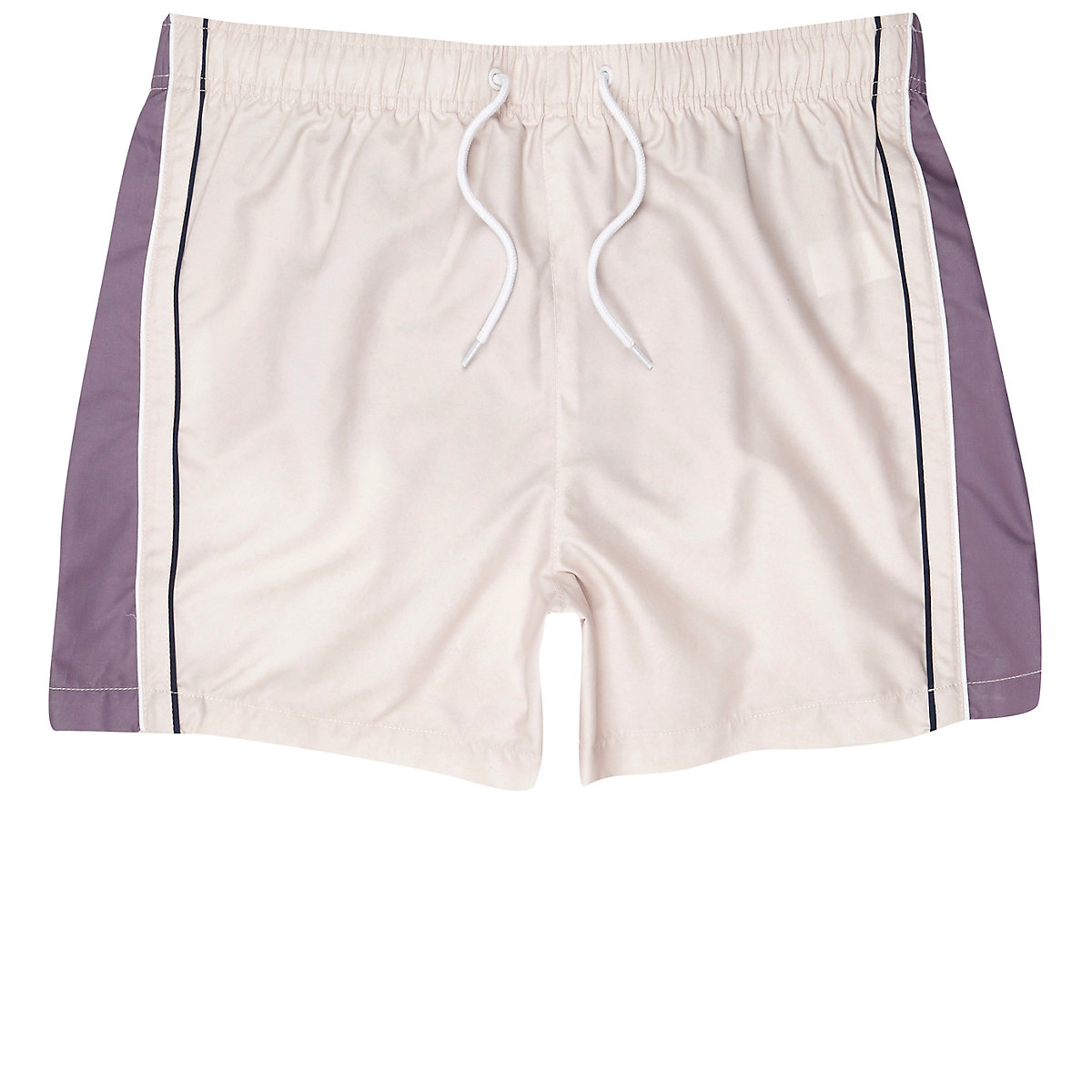 Light pink blocked stripe swim trunks