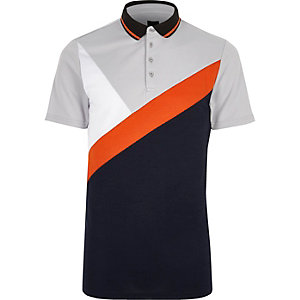 Navy and orange colour block polo shirt