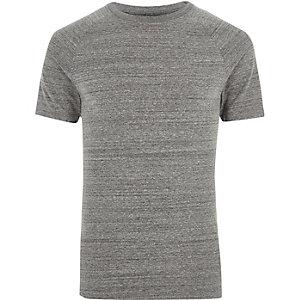 T-shirt ajusté gris chiné à manches raglan