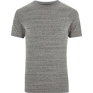Gemêleerd grijs aansluitend T-shirt met raglanmouwen