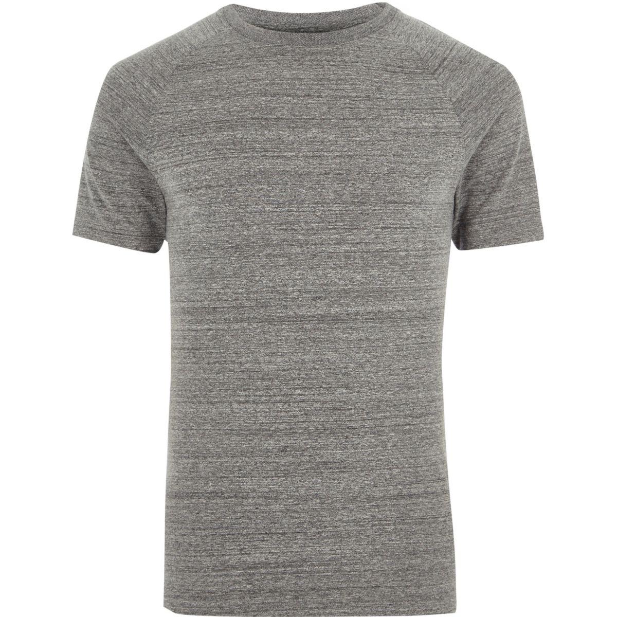 Grey marl muscle fit raglan T-shirt