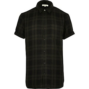 Khaki green check short sleeve shirt