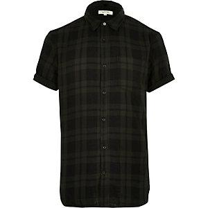 Khaki green check short sleeve shirt