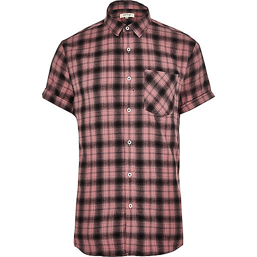 Pink check short sleeve shirt