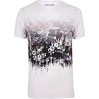 White floral print muscle fit T-shirt