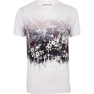 T-shirt imprimé fleurs blanc à col ras du cou