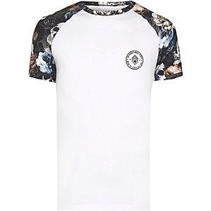 White skull raglan sleeve muscle fit T-shirt