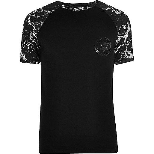 Black raglan sleeve muscle fit T-shirt
