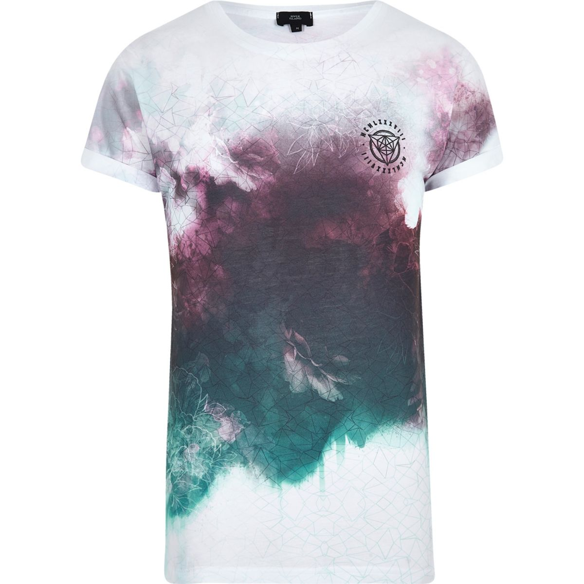 White contrast smudge print T-shirt