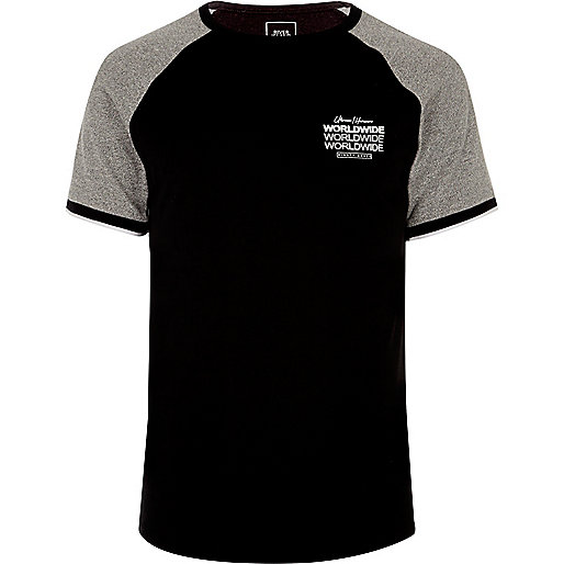 Black short sleeve 'worldwide' raglan T-shirt