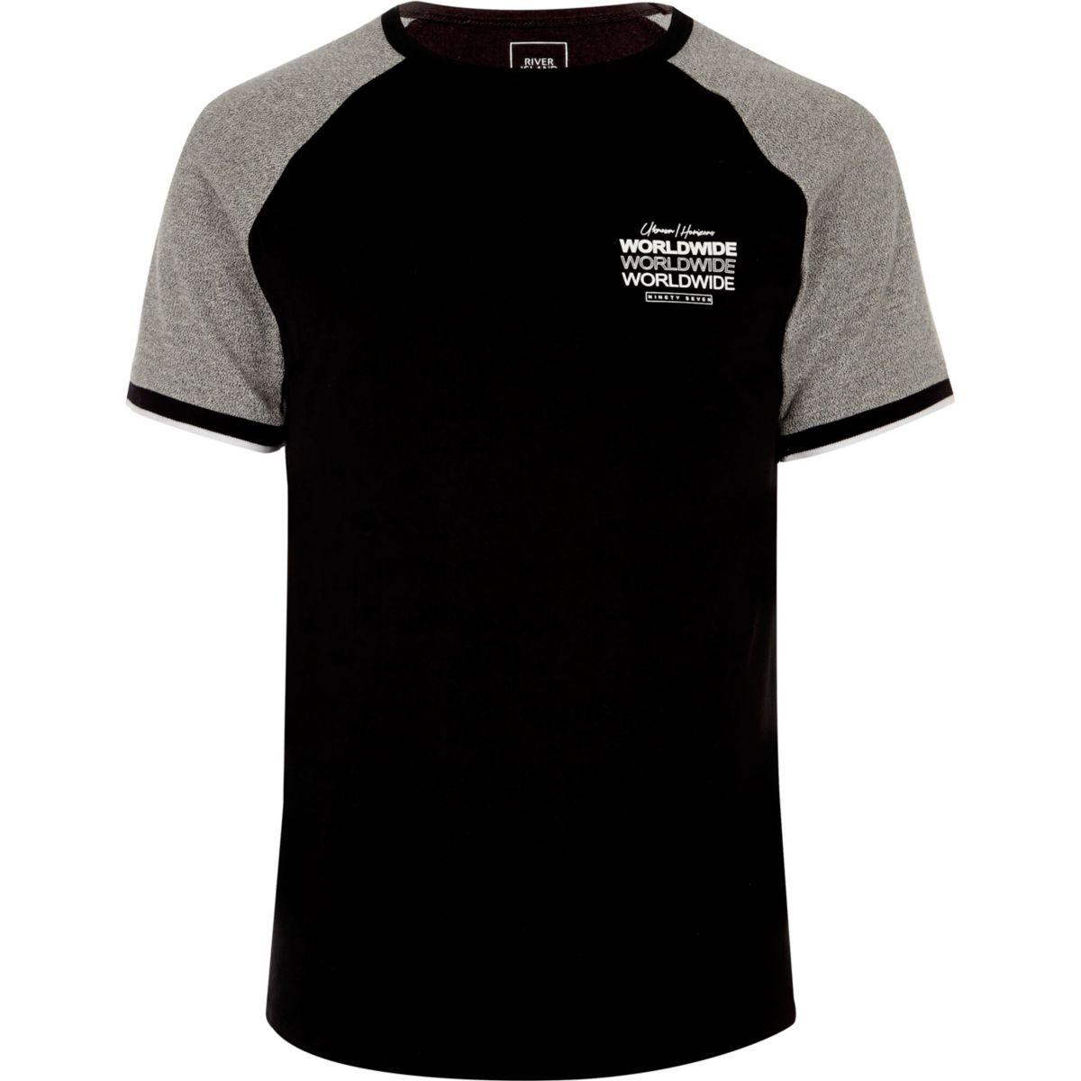 Black short sleeve 'worldwide' raglan T-shirt