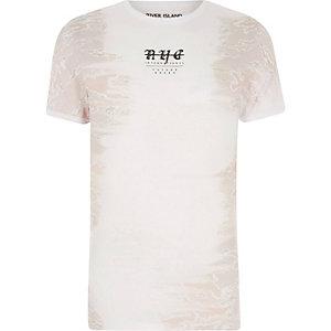 T-shirt ajusté blanc avec imprimé camouflage sur les côtés
