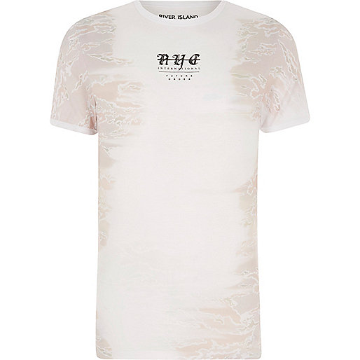 White camo side print muscle fit T-shirt