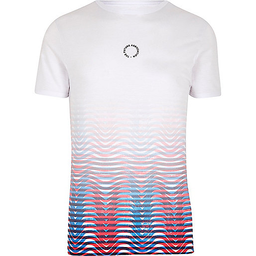 White contrast stripe fade muscle fit T-shirt