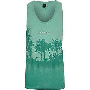 Light green palm tree print burnout tank