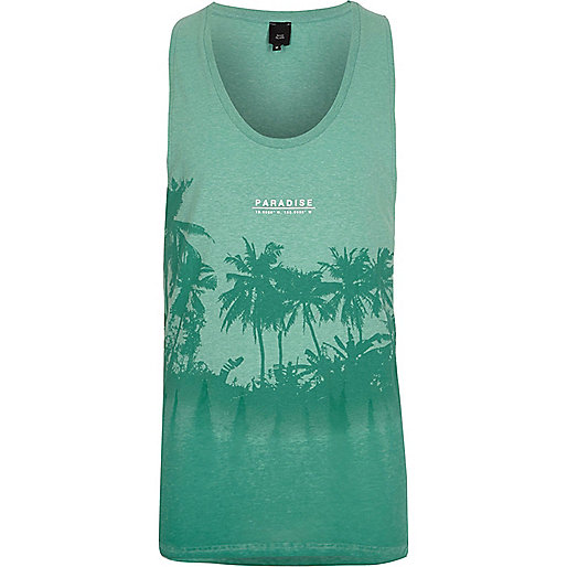 Light green palm tree print burnout vest