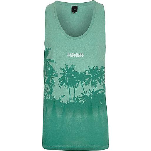Light green palm tree print burnout tank
