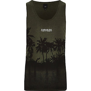 Dark green burnout 'Paradise' palm print tank