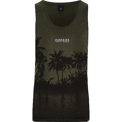 Dark green burnout 'Paradise' palm print vest